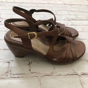 Dansko brown ankle strap heeled sandals
